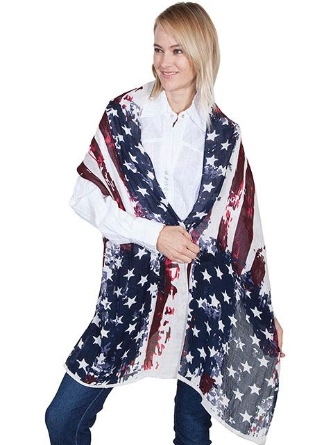 Scully Ladies' Honey Creek Collection Accessory: Shawl Patriotic Design One Size