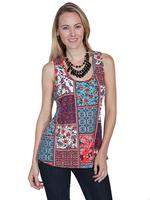 Scully Ladies' Honey Creek Collection Blouse: Tank Multi Pattern M-XL