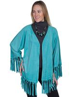Scully Ladies' Honey Creek Collection Jacket: Fringe Wrap Turquoise M-L SALE