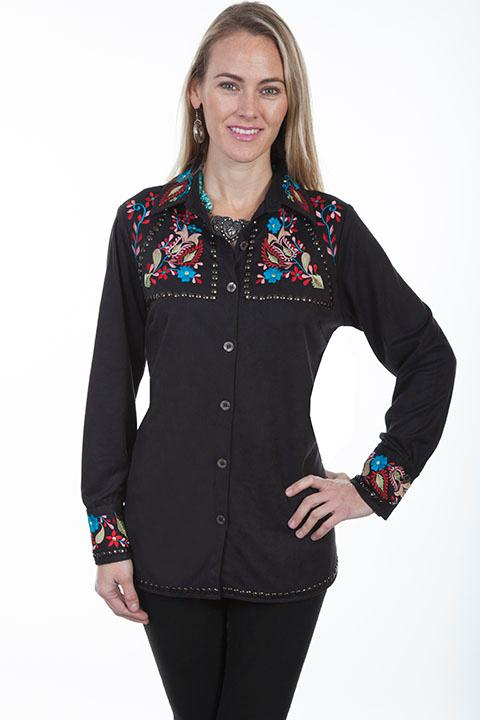 Scully Ladies' Honey Creek Collection Blouse: A Embroidered Studded Western Style S-2XL