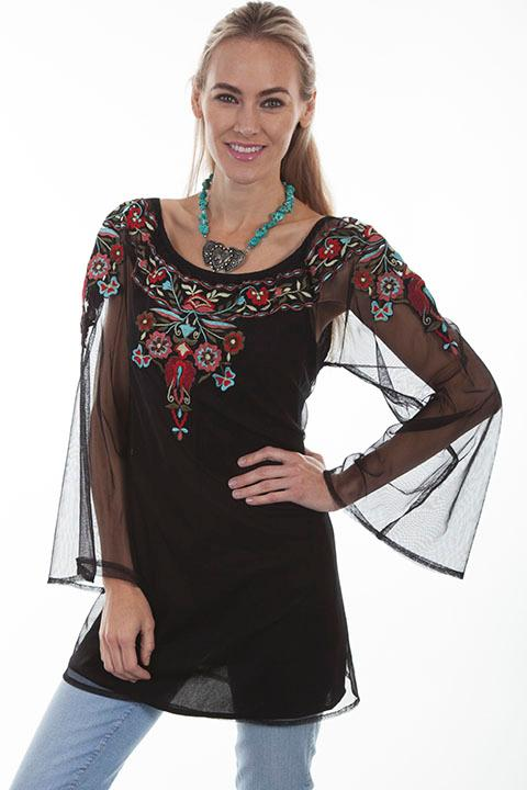Scully Ladies' Honey Creek Collection Blouse: Boho Tunic Embroidery, Sheer Sleeves M-2XL