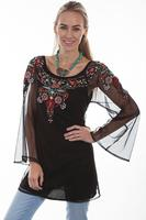 A Scully Ladies' Honey Creek Collection Blouse: Boho Tunic Embroidery, Sheer Sleeves