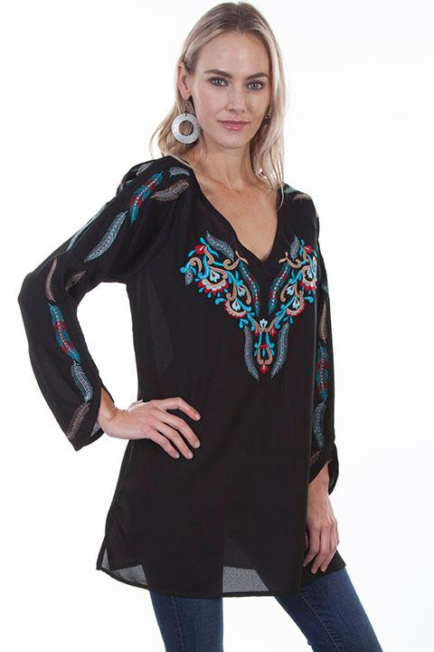 Scully Ladies' Honey Creek Collection Blouse: BoHo Tunic Feather Embroidery M-2XL