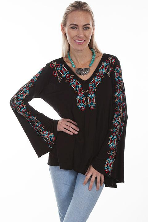 A Scully Ladies' Honey Creek Collection Blouse: Boho Tunic Geometric Embroidery SALE