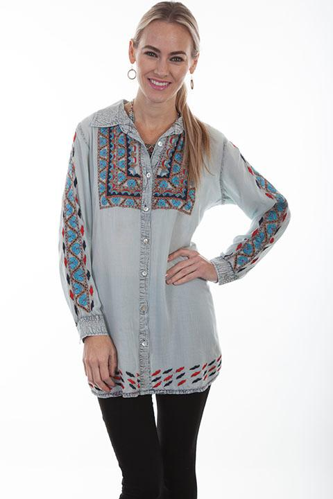 Scully Ladies' Honey Creek Collection Blouse: BoHo Embroidery S-2XL