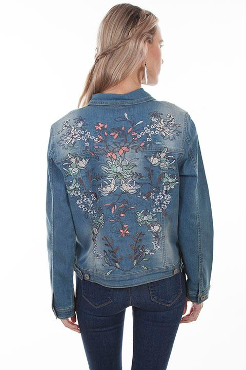 A Scully Ladies' Honey Creek Collection Jacket: Denim Jean Jacket Embroidered S-XL