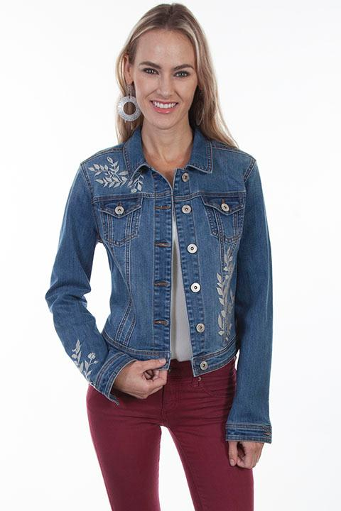 Scully Ladies' Honey Creek Collection Jacket: Denim Jean Jacket Leaf Embroidery S-XL