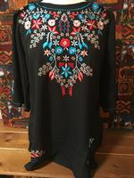 Scully Ladies' Honey Creek Blouse: Tunic Embroidered Elbows Black SALE