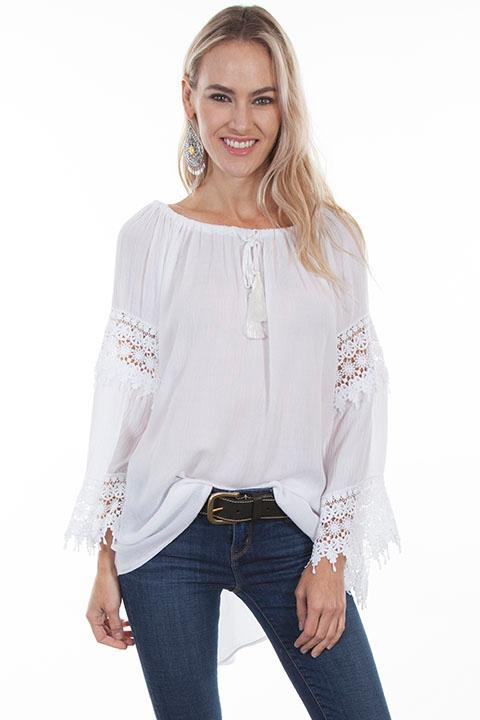 A Scully Ladies' Honey Creek Collection Blouse: Boho Hi/Lo Hem Crochet White S-XL
