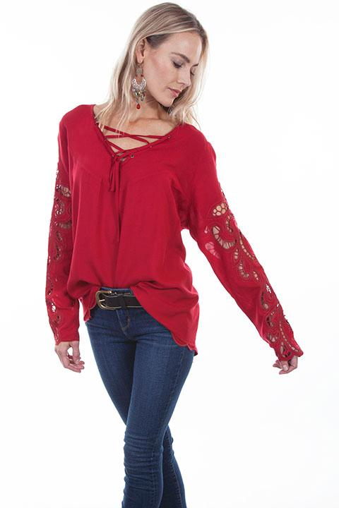 Scully Ladies' Honey Creek Collection Blouse: Boho Hi Lo Hem