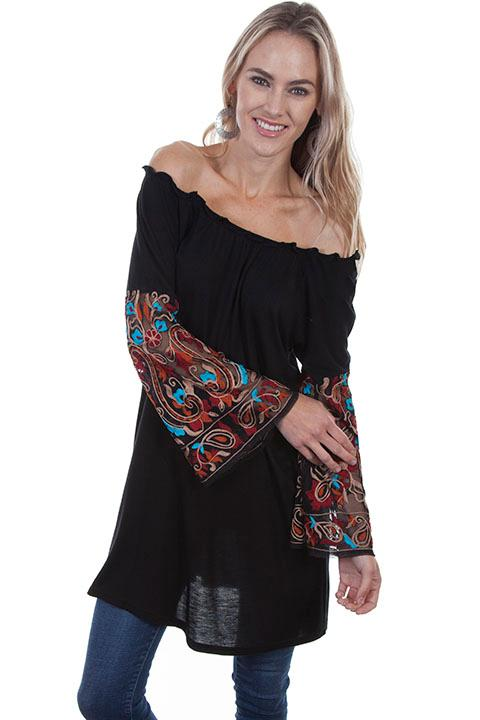 A Scully Ladies' Honey Creek Collection Blouse: Tunic Embroidered Sleeves Black SALE