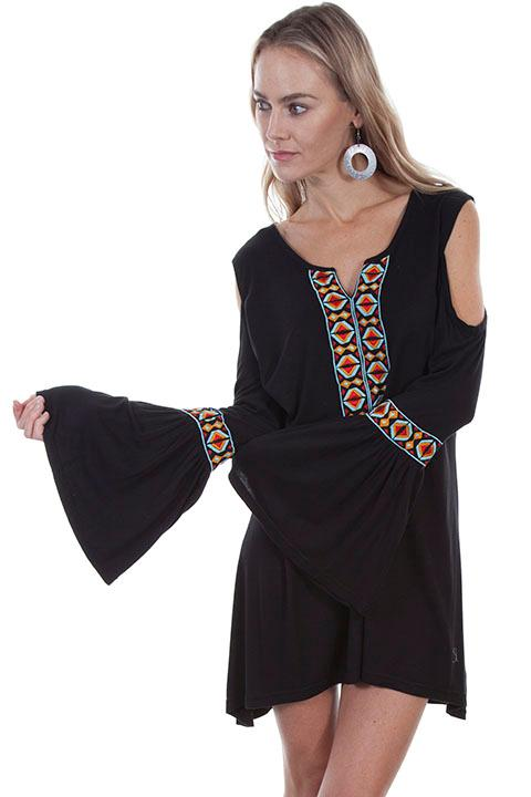 A Scully Ladies' Honey Creek Collection Blouse: Tunic with Aztec Embroidery S-2XL