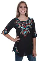 A Scully Ladies' Honey Creek Collection Blouse: Tunic Embroidered Elbows Black SALE