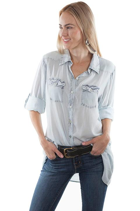 A Scully Ladies' Honey Creek Collection Blouse: Roll-Tab Sleeve Blue