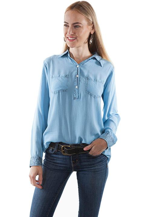 A Scully Ladies' Honey Creek Collection Blouse: Button Front Blue Back Ordered