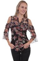 A Scully Ladies' Honey Creek Collection Blouse: Dreamy Cold Shoulder Sheer S-XL
