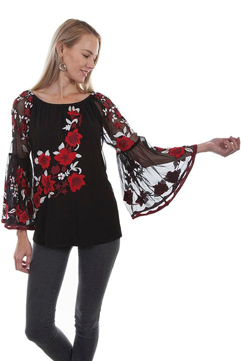 A Scully Ladies' Honey Creek Collection Blouse: Embroidered Mesh Tunic S-2XL