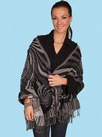 Scully Ladies' Honey Creek Collection Accessory: Wrap of Wool Black and Gray SALE