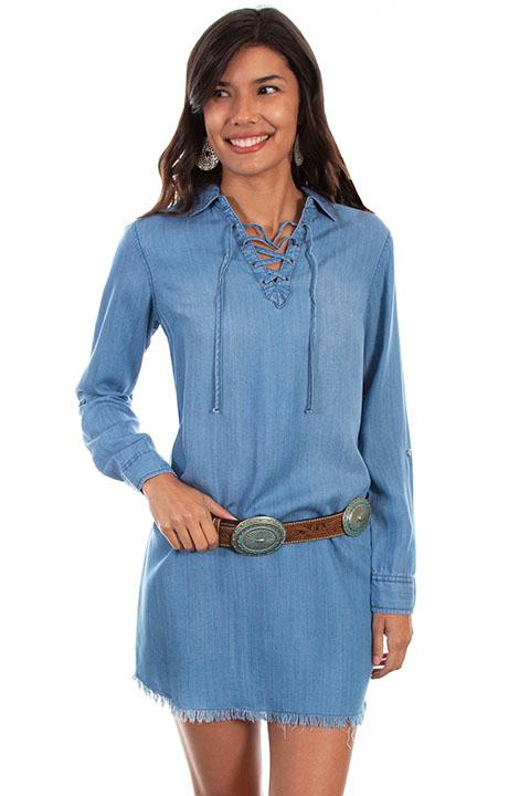 Scully Ladies' Honey Creek Collection Dress:  A Denim Shirt Style