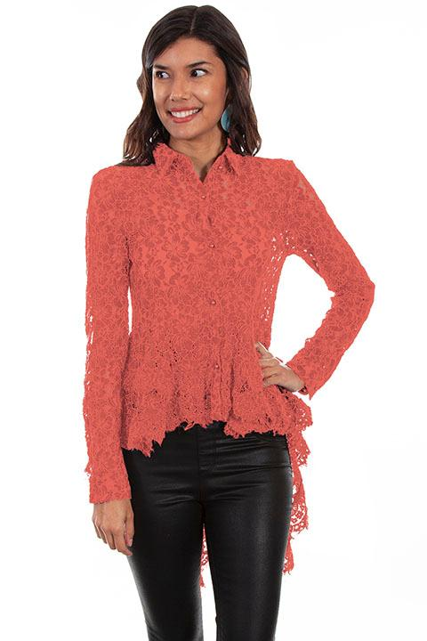 Scully Ladies' Honey Creek Blouse: Hi Lo Lace  Coral