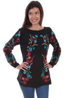 A Scully Ladies' Honey Creek Collection Blouse: Floral Embroidered Tunic SALE