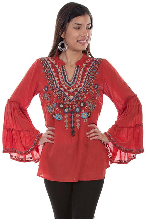 Scully Ladies' Honey Creek Blouse:  Embroidered V-Neck Sunset Coral
