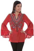 A Scully Ladies' Honey Creek Collection Blouse:  Embroidered V-Neck Sunset Coral