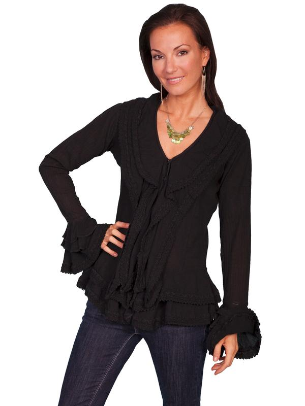 Scully Ladies' Honey Creek Collection Blouse: Long Sleeve Front Ruffle Black S-XL