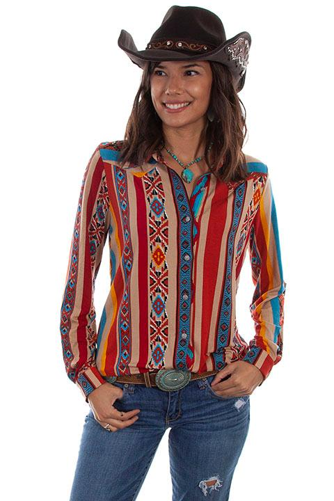 Scully Ladies' Honey Creek Blouse: Serape Western Style
