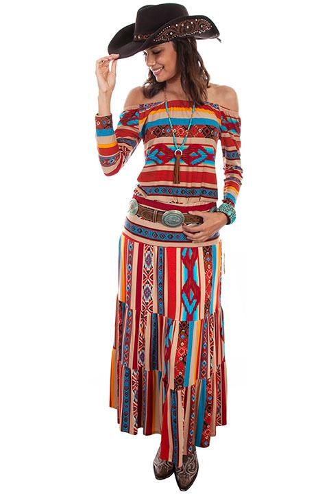 Scully Ladies' Honey Creek Collection Skirt: Serape Tiers
