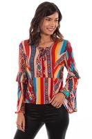 Scully Ladies' Honey Creek Blouse: Serape Ruffle Sleeves
