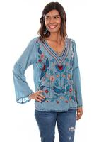 A Scully Honey Creek Blouse: Floral Embroidery