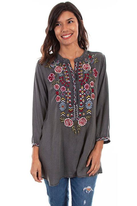 Scully Ladies' Honey Creek Blouse: Embroidered Tunic