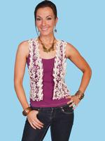 Scully Ladies' Honey Creek Collection Vest: Retro Crochet Design Natural SALE