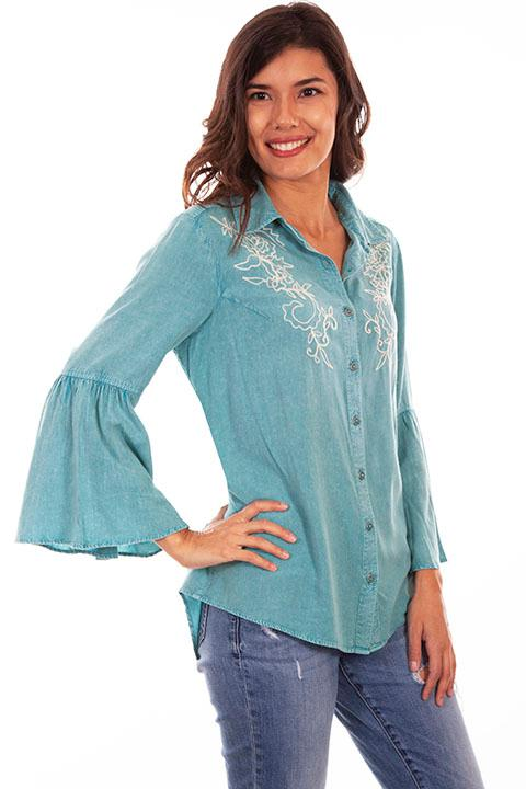 Scully Ladies' Honey Creek Blouse: Embroidered Vine