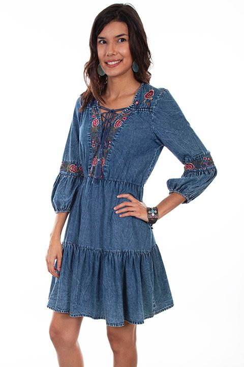 Scully Ladies' Honey Creek Collection Dress: A Denim  Lace Up Front
