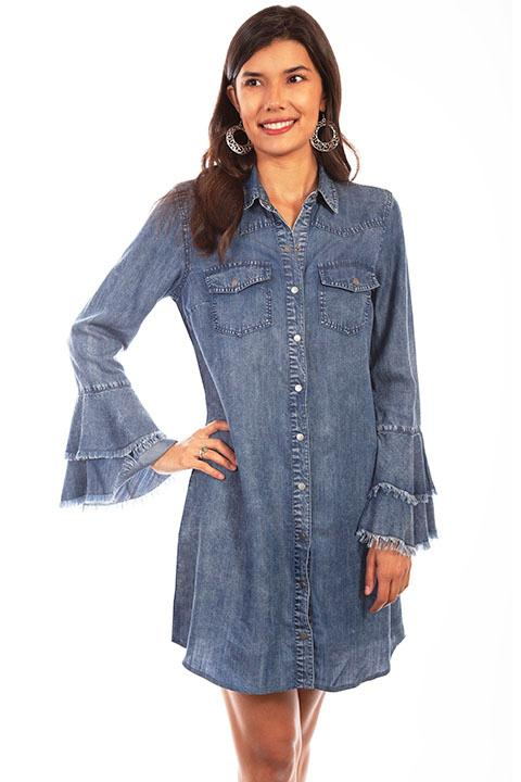 Scully Ladies' Honey Creek Collection Dress: A Denim Western Yokes