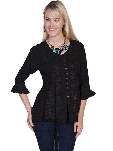 Scully Ladies' Honey Creek Collection Blouse: 3/4 Sleeve Blouse Black