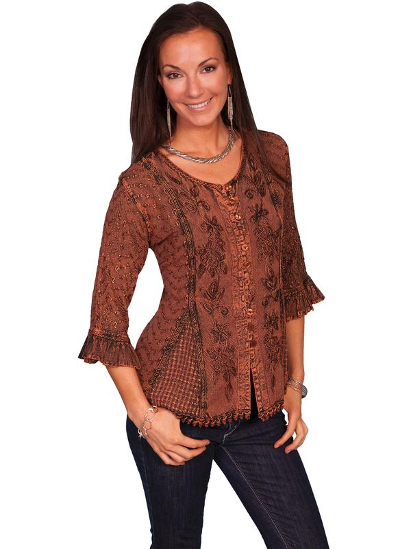 Scully Ladies' Honey Creek Collection Blouse: 3/4 Sleeve Blouse Copper Backordered