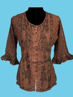 Scully Ladies' Honey Creek Collection Blouse: 3/4 Sleeve Blouse Copper S-2XL Back Ordered