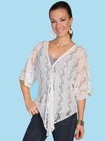 ZSold Scully Ladies' Honey Creek Collection Blouse: Button Front Lace Ivory L SOLD
