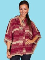 Scully Ladies' Honey Creek Collection Sweater: Poncho with Hood Burgundy One Size SALE