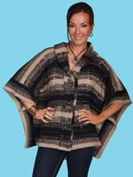 Scully Ladies' Honey Creek Collection Sweater: Poncho with Hood Charcoal One Size SALE