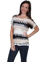 Scully Ladies' Honey Creek Collection Crochet: Top Short Sleeve Length Ivory, Black, Taupe L SALE