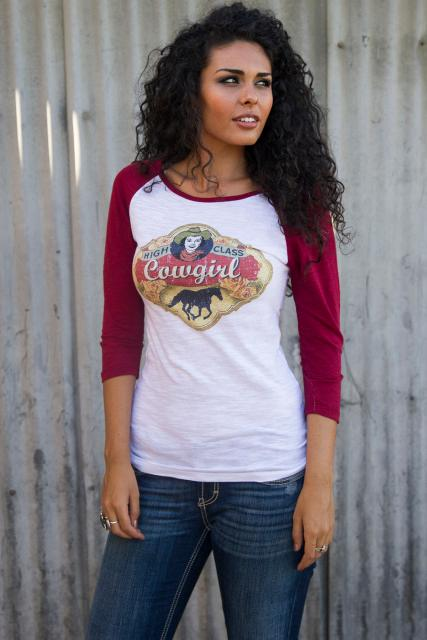 Original Cowgirl Clothing: Tee Baseball High Class Cowgirl S-2XL