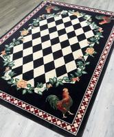 American Dakota Rug: Whimsical & Novelty Collection High Country Roosters Black 3x4 Drop Ship