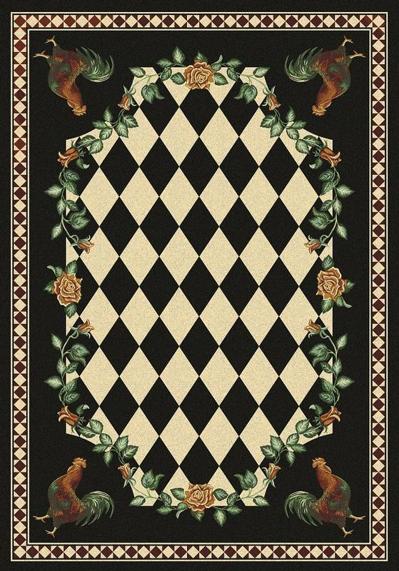 American Dakota Rug: Whimsical & Novelty Collection High Country Roosters Black 5x8 Drop Ship