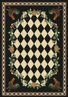 American Dakota Rug: Whimsical & Novelty Collection High Country Roosters Black 8x11 Drop Ship