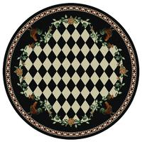 American Dakota Rug: Whimsical & Novelty Collection High Country Roosters Black 8' Round Drop Ship
