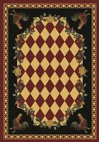 American Dakota Rug: Whimsical & Novelty Collection High Country Roosters Red 4x5 Drop Ship